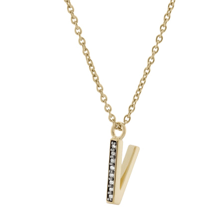 P Medaille d'Amour Alphabet Necklace. 9k Gold & Diamond