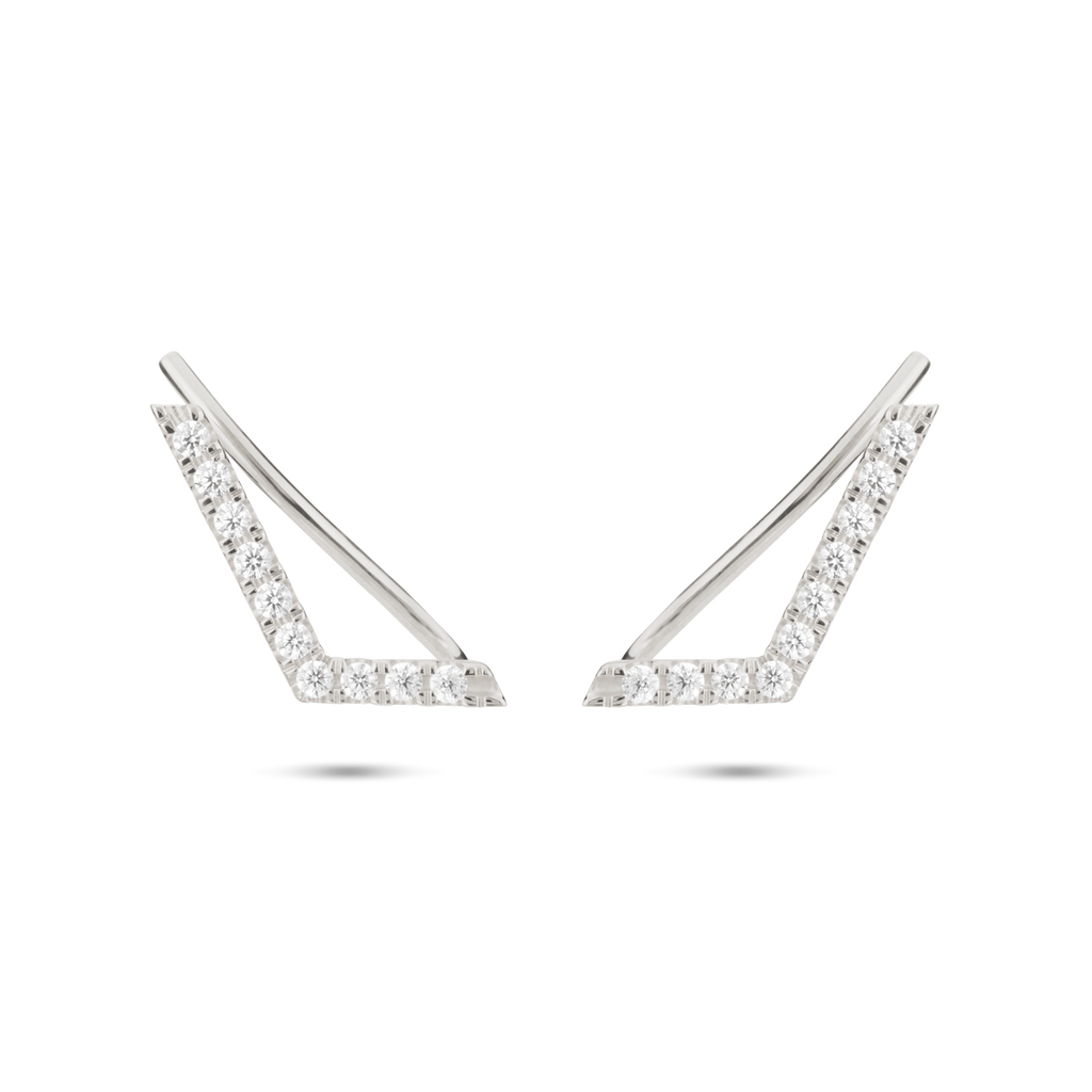 Chevron Diamond Ear Pin. 9k White Gold - MONARC CONCIERGE
