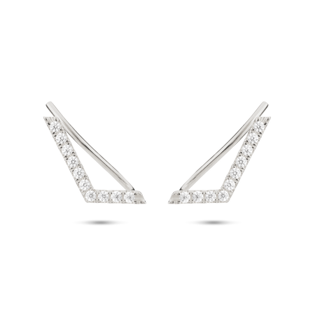 Thea Diamond Ear Pin. 9k White Gold