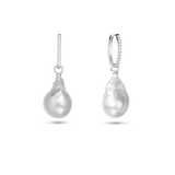 Embrasé Diamond & Pearl Hoop Earrings. 9k White Gold - MONARC CONCIERGE