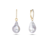 Embrasé Diamond & Pearl Hoop Earrings. 9k Yellow Gold - MONARC CONCIERGE