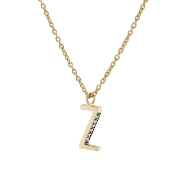 Z Medaille d'Amour Alphabet Necklace. 9k Gold & Diamond - MONARC CONCIERGE