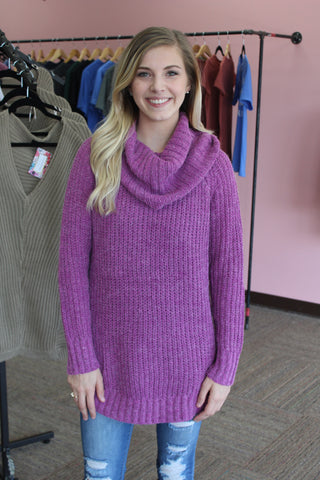 Fuchsia Cowl Neck Sweater