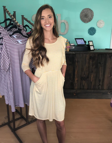 Mustard Stripe Ruffle Dress