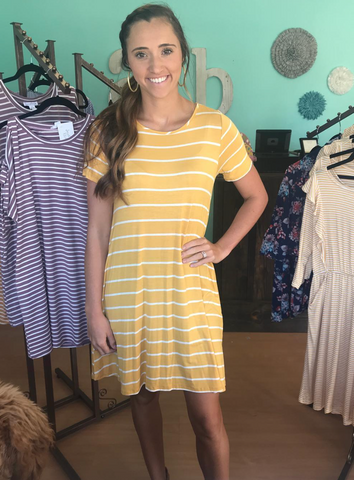 Yellow Stripe T-Shirt Dress