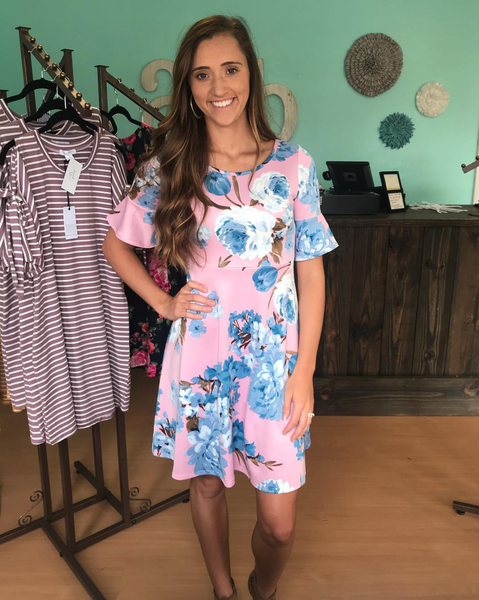 Lavender Floral Ruffle Dress