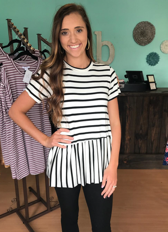 Ivory/Black Stripe Babydoll Top