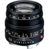 Leica Normal 50mm f/2.0 Summicron M Manual Focus Lens (6-Bit, Updated for Digital) - Black