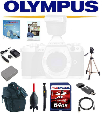 Accessory Bundle for Olympus OM-D E-M5 Mark II W/ Olympus FL-LM3 Flash, 64GB  Card