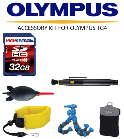 Accessory kit for Olympus Stylus TG-4 iHS  Floating Strap, Case, 32GB Accessory