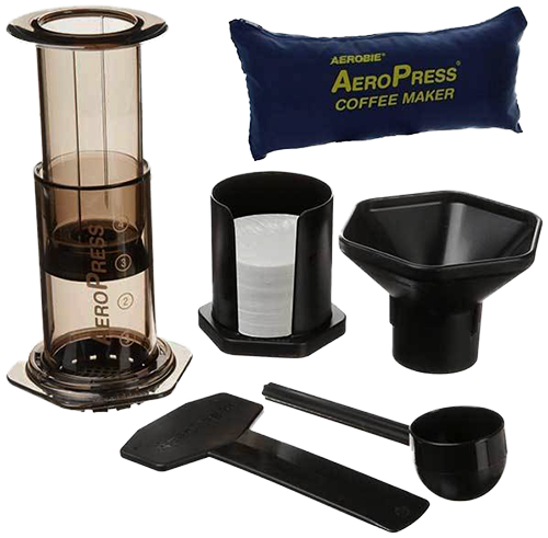 The Aerobie Aeropress coffee maker & travel bag is the perfect addition to your coffee brewing tool kit.