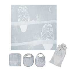 Breganwood-Organics-Swaddle-Bib-Washcloth-Set_Prairie_Grey-Owl_All