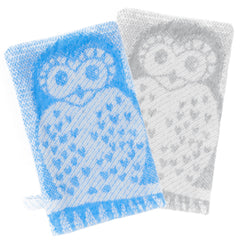 Organic-Cotton-Newborn-Baby-Toddler-Bath-Mitt-Blue-Grey-Owl