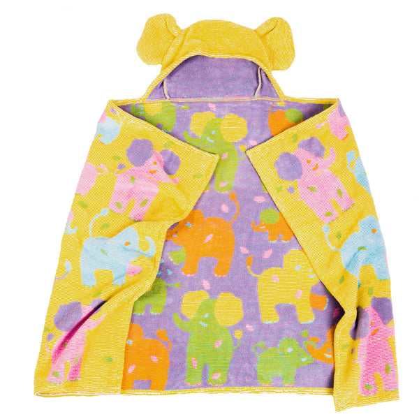 Organic-Hooded-Towel_TERRY-Elephant-with-Ears-Yellow-Pink-Blue