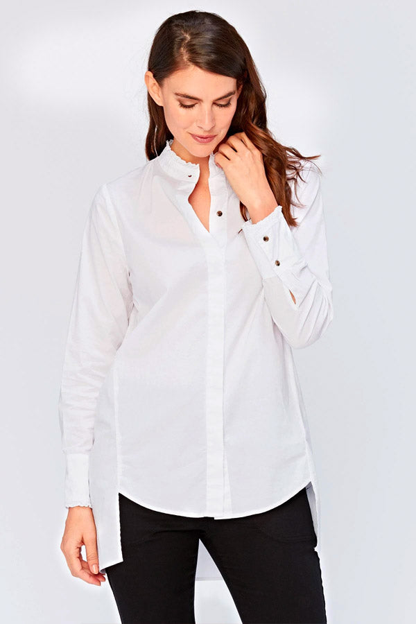 Line Ruffle Button Up