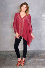 Plimoth Poncho - Natural Rayon Crepe in Marsala; Myrtle Legging - Ponti Knit in Nylon Black
