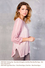 Vicksburg Top - Siena Satin & Georgette in Acid Rose Wash; Key West Cargo - Slub Twill in Wood Smoke