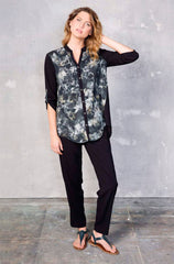 Zoya Button Down - Floral Stretch Rayon; Violet Pant - Black Stretch Rayon