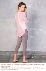 THIS PAGE: Vicksburg Top - Siena Satin & Georgette in Acid Rose Wash; Key West Crop - Slub Twill in Wood Smoke