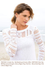 THIS PAGE: Yu Garden Top - Slub Modal Jersey & Crochet in White