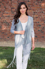 Style 12583, Maui Cardi, Rayon Voile & Slub Modal in Spray Ember Wash; Style 21741, Annalisa Pant, Summer Twill in White