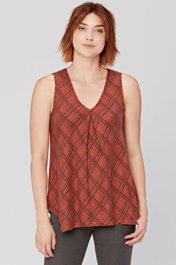 XCVI Plaid Shift Tank
