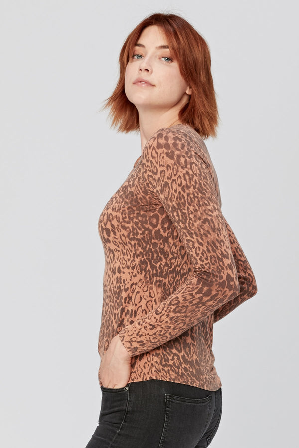 Leopard Front Knot Top