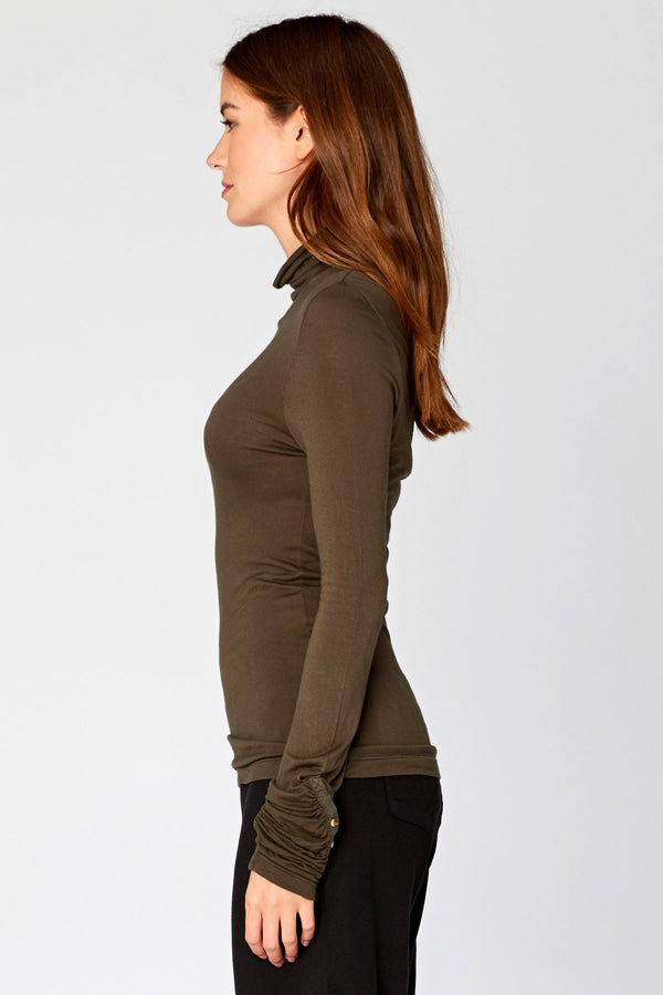 Button Cuff Turtleneck