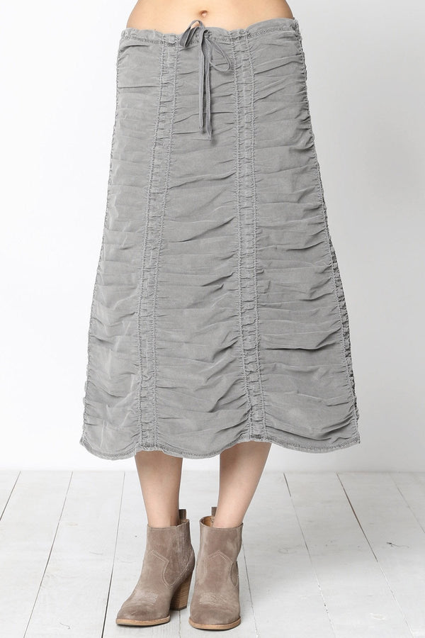 Corduroy Shirred Panel Skirt