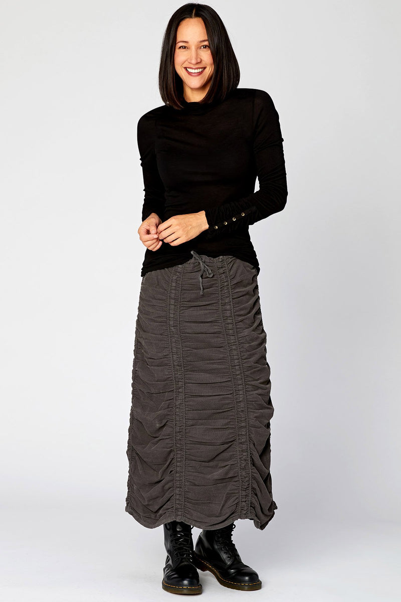 Wearables Corduroy Shirred Panel Skirt