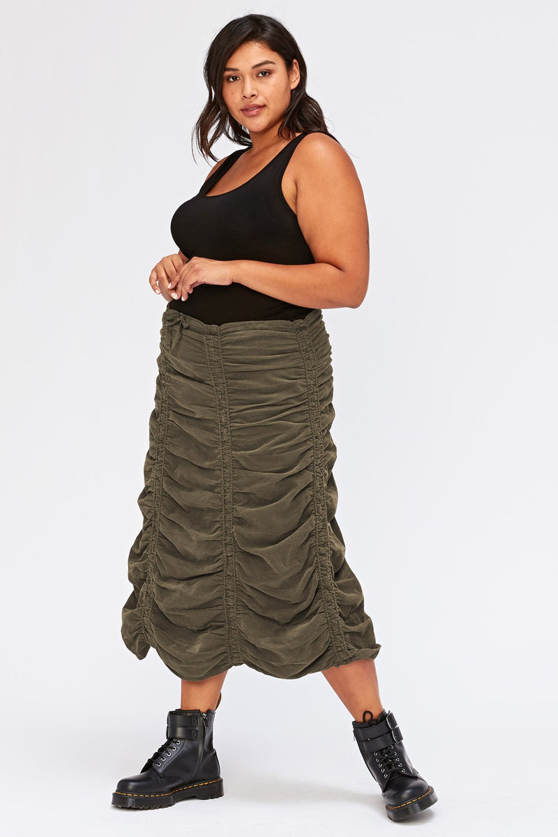 Corduroy Shirred Panel Skirt+