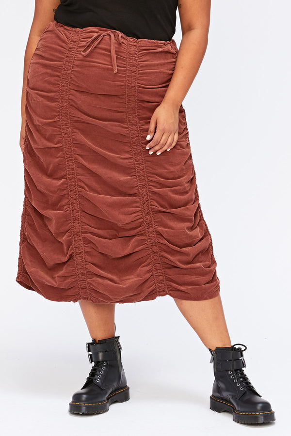 XCVI Plus Corduroy Shirred Panel Skirt+