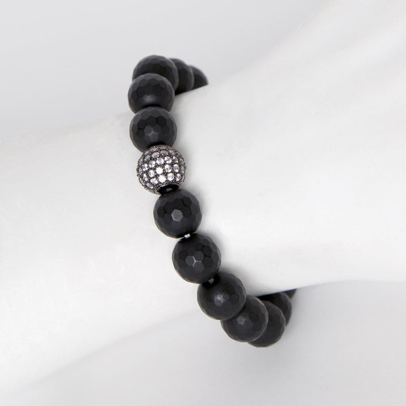 Matte Black Onyx Bead Stretch Bracelet