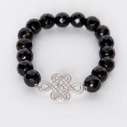 Onyx Bead & CZ Ornament Stretch Bracelet