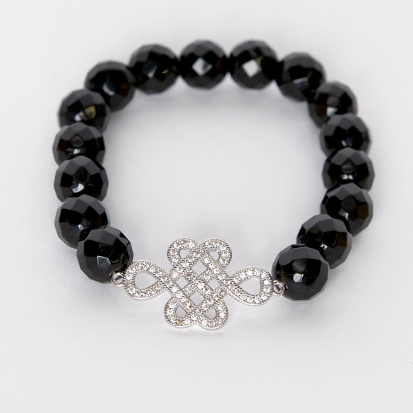 Amanda Jordyn Designs Onyx Bead & CZ Ornament Stretch Bracelet