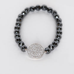Amanda Jordyn Designs Hematite Bead and CZ Stretch Bracelet