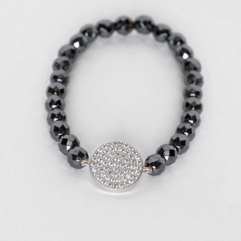 Hematite Bead and CZ Stretch Bracelet
