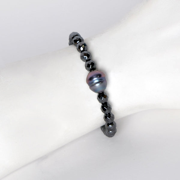 Amanda Jordyn Designs Fresh Water Pearl & Hematite Beads Stretch Bracelet