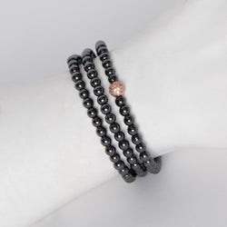Hematite & Rose Gold Diamond-like Bead Bracelet/Necklace