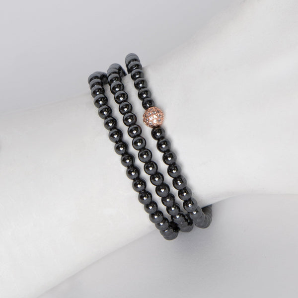 Amanda Jordyn Designs Hematite & Rose Gold Diamond-like Bead Bracelet/Necklace