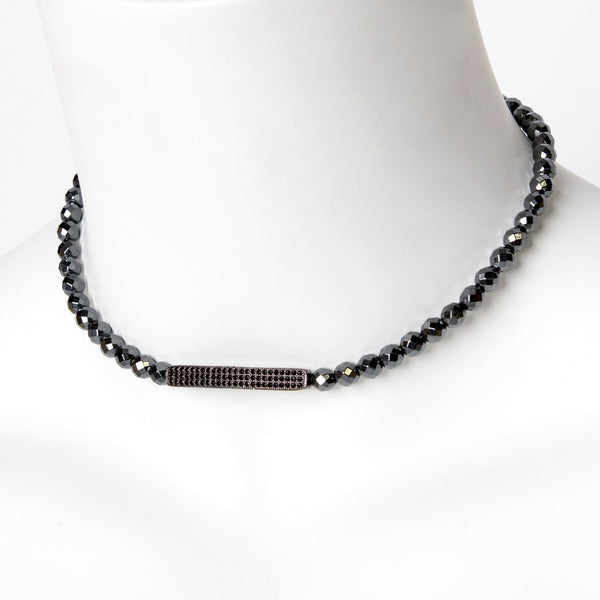 Hematite Bead and Hematite Bar Choker/Bracelet