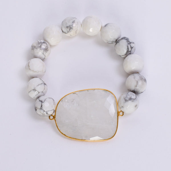 White Turquoise and Moonstone Bracelet