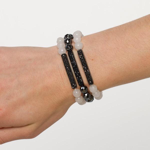 Hematite Bar Bracelet with Faceted Jade Beads