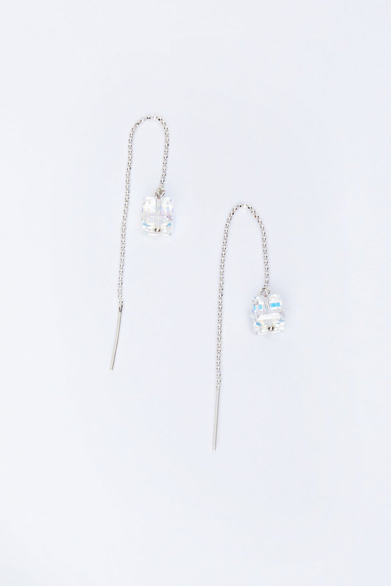 Cube Crystal Threading Earrings
