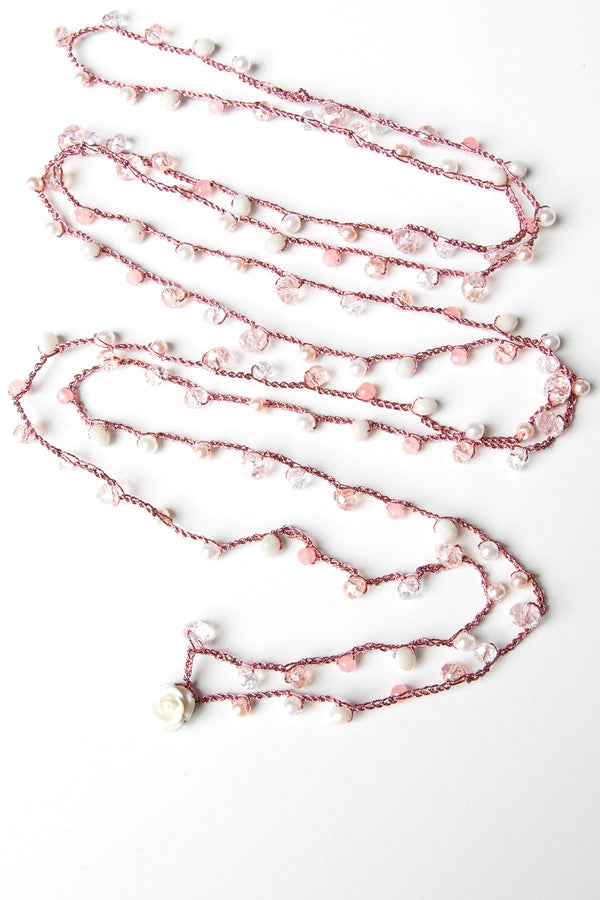 Michal Cohen Desert Rose Necklace Metallic yarn Pink