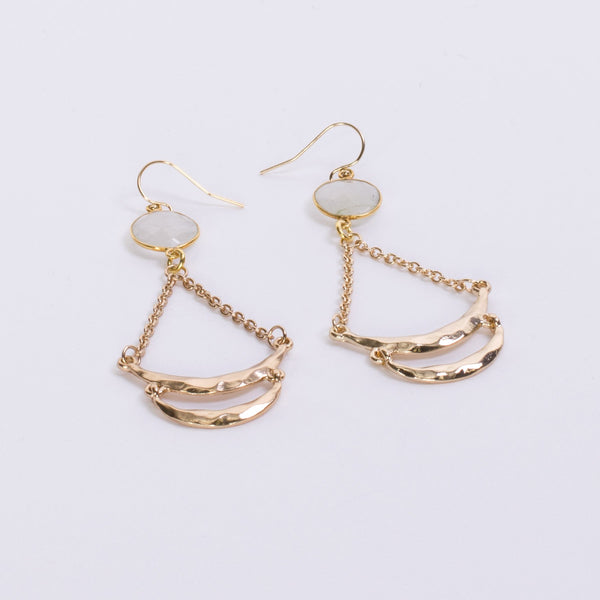 Moonstone Gold Hoop Earrings