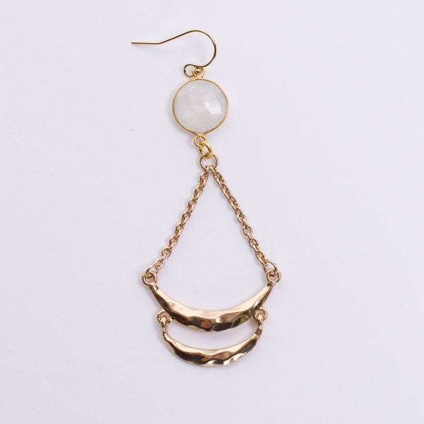 Amanda Jordyn Designs Moonstone Gold Hoop Earrings