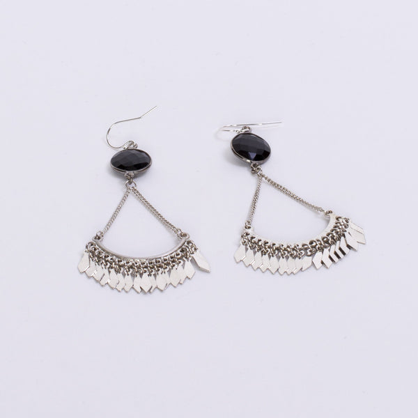 Onyx Earrings in Silver