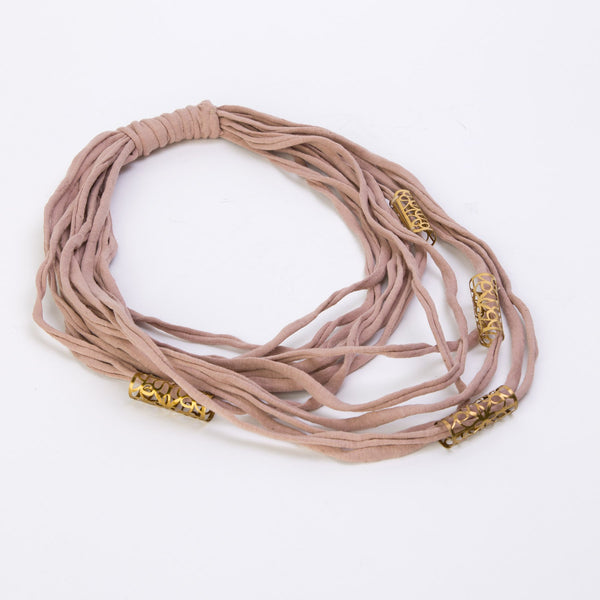 Fabric Necklace with Gold