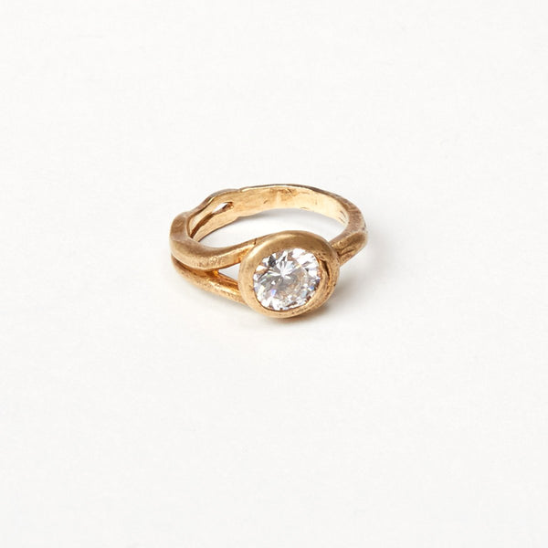 Liza Shtromberg Gold Loop Cubic Zirconia Ring